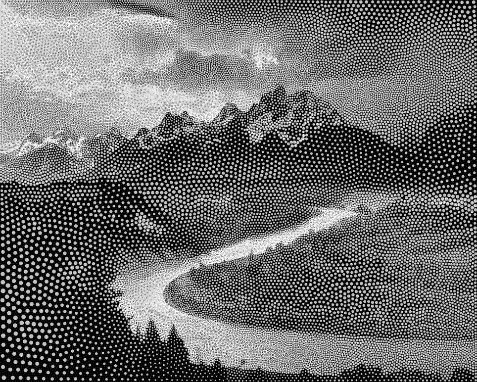 """Stippled image of """"The Tetons and the Snake River"""" by Ansel Adams, 1942"""
